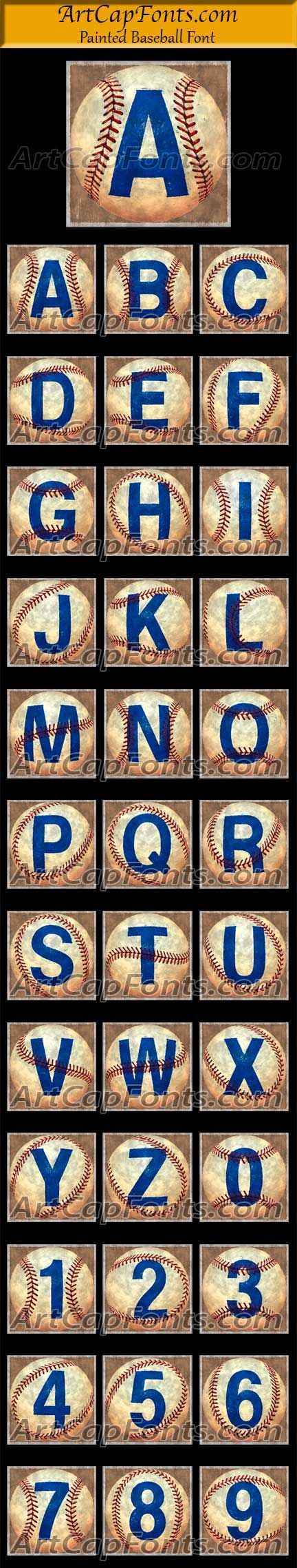 Painted Baseball Font from ArtCapFonts.com Monogram Set or Drop Cap Capital Letters & Numbers: This illustration of letters painted on a baseball can be used in Power Point, monogram, in a scrapbook, printed on a greeting card, as a bullet point to define a list, as a drop cap to start the first word of a blog or spell out a word for a poster. They can also be transformed into an embroidery image,