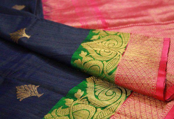 Navy Blue, Green & Hot Pink Banarasi
