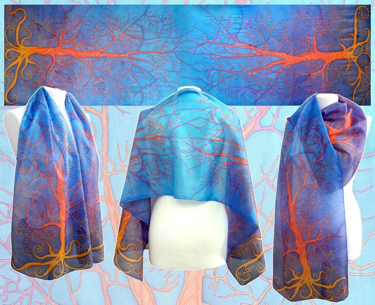 #silk #scarf #minkulul #silkscarf #blueorange #bluescarf #contrast #complementary #orangeblue #fierytree #treescarf #redtree #orangetree #treeart #handpainted #silkpainting #silkart