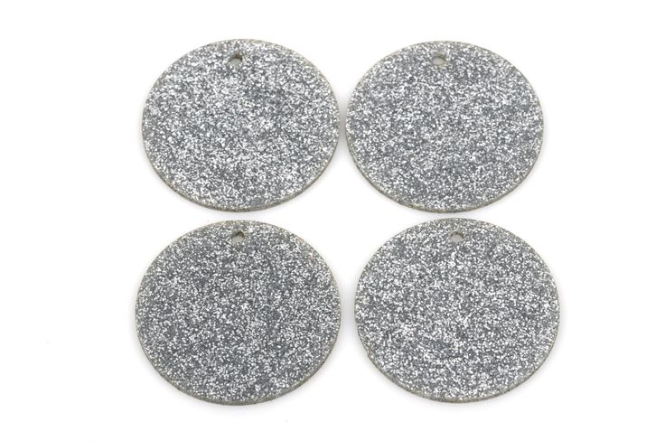10 GLITTER CIRCLE Disc Laser Cut Acrylic shapes acrylic blanks SILVER Glitter Acrylic for keychains you choose size Lca0207