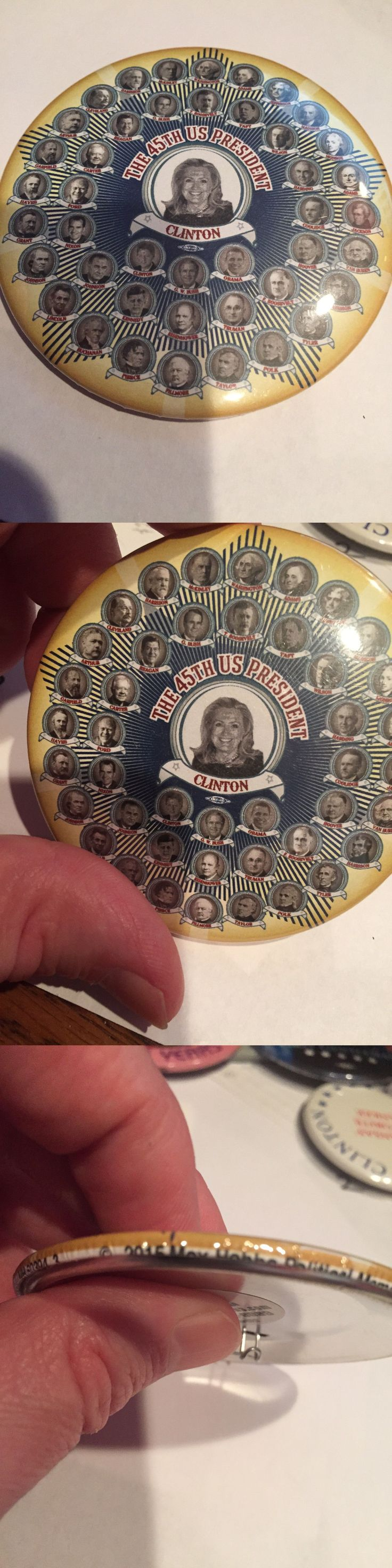 Hillary Clinton: Official Hillary Clinton 45Th Us President 2016 Button Pin W/ All Presidents -> BUY IT NOW ONLY: $15.75 on eBay!