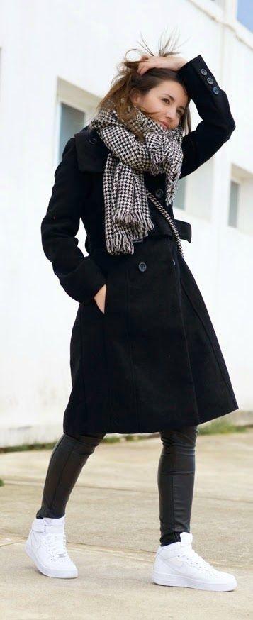 Black Maxi Coat Dress   Oversized Houndstooth Scarf