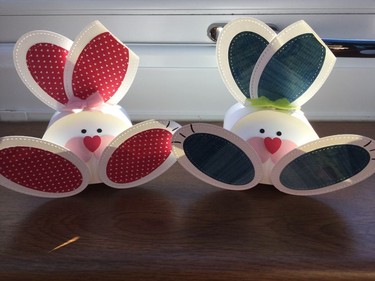 Cute bunnies. Perfect for Easter. Made with Stampin Up! Stitched ovals thinlits and curvy keepsake box.