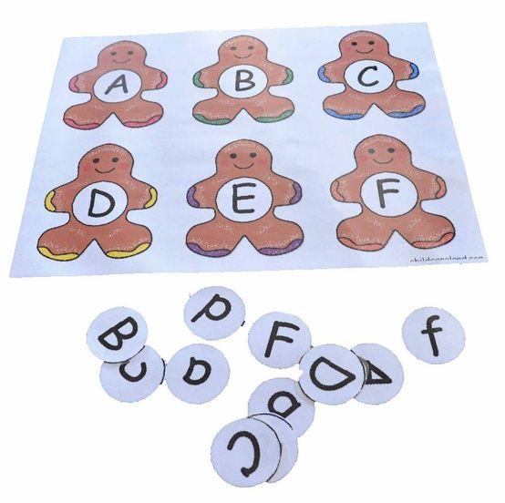 gingerbread alphabet activities via children's learning activities
