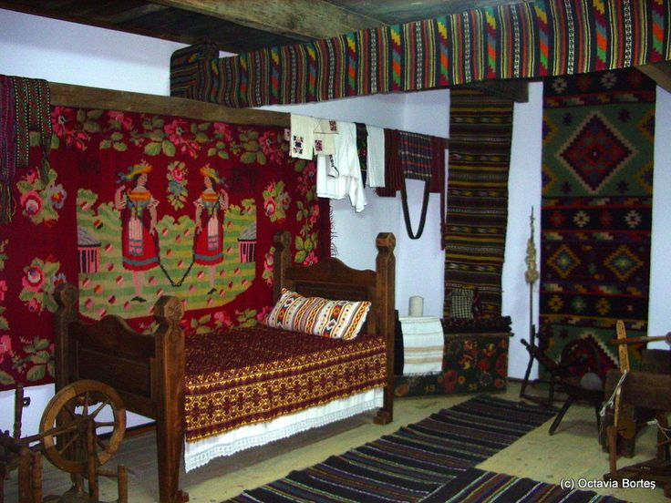 Bedroom in a traditional Bucovina house