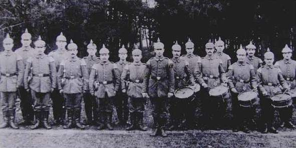 A German corps of fifes and drums (Spielmannszug) of the Kaiser's Army. Date and place unknown.