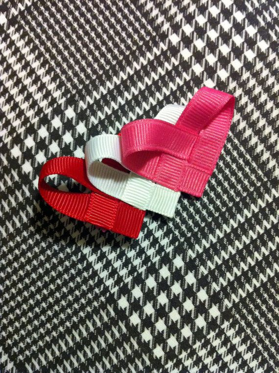 Items similar to Woven Heart Trio Ribbon Sculpture Hair Clip on Etsy