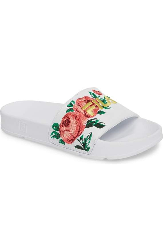 d0fc4760a3d4 Super cute embroidered Fila slides Floral Embroidery