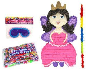 Princess Fairy Pinata Party Kit Including Pinata, 2 Lbs Candy and Toy Fillers, Buster Stick, and Blindfold by Aztec Imports. $29.99. 18 quot; long Pinata Buster Stick is made of wood and is covered with strips of crepe paper in assorted colors. Ready to play the pinata party game!. Pinata filler comes with 2 lbs of candy and toys. Kit includes 1 Princess Fairy Pinata, 1 Pinata Filler, 1 Buster Stick and 1 Blindfold. Pinata measures 20 quot;x14 quot;x4 quot;. Includes (1)...