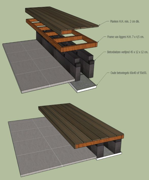 DHZ Zwevende loungebank. DYI Floating bench. Made with hardwood beams, hardwood decking and concrete beams.