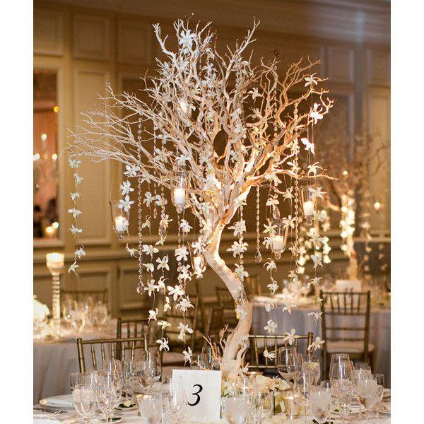 Winter Wedding - Manzanita Branches Centerpieces | Wedding Planning, Ideas & Etiquette | Bridal Guide Magazine found on Polyvore