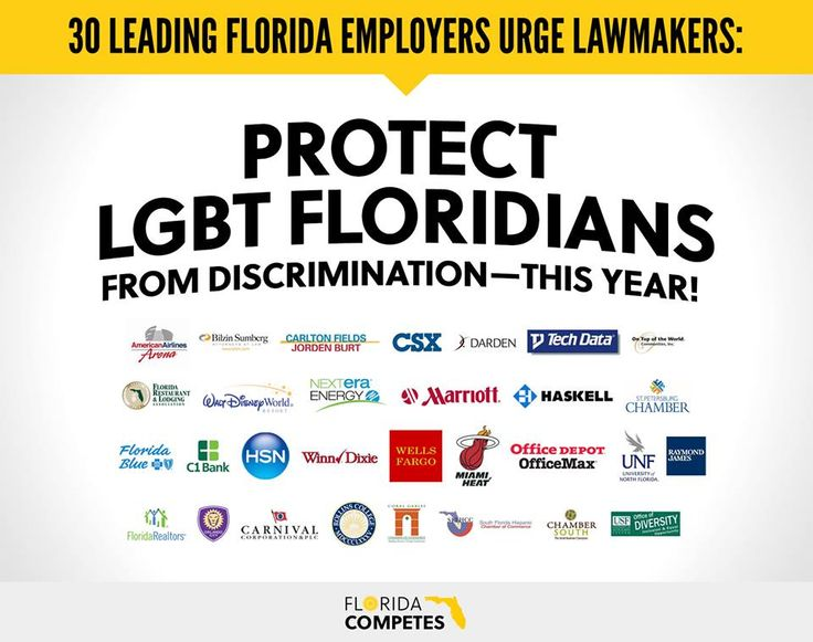 """30 of Florida's top employers—including Wells Fargo, Marriott Hotels & Disney—sent a letter to Gov. Rick Scott and leaders in the House and Senate, urging Florida lawmakers to pass legislation protecting LGBT Floridians from discrimination this year! Click """"like"""" and share to thank these companies for taking a bold stance against discrimination, and read the full letter here: http://FLCompetes.org/CoalitionLetter"""