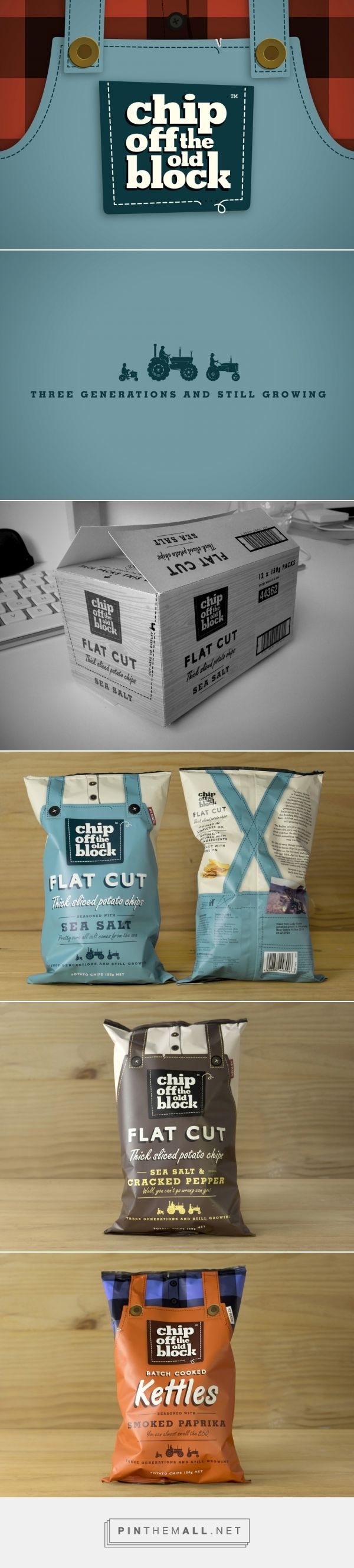 Chip Off The Old Block via phd3 curated by Packaging Diva PD. An alternative grower brand of chips in an otherwise over-processed category. Brand name, overalls, shirts, flat colours, pocket device and language in the brand packaging celebrates 'three generations.