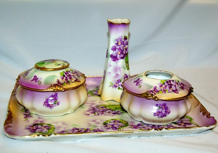 (6) pcs 1900's Victorian Dresser Set with Masses of Lavender Floral