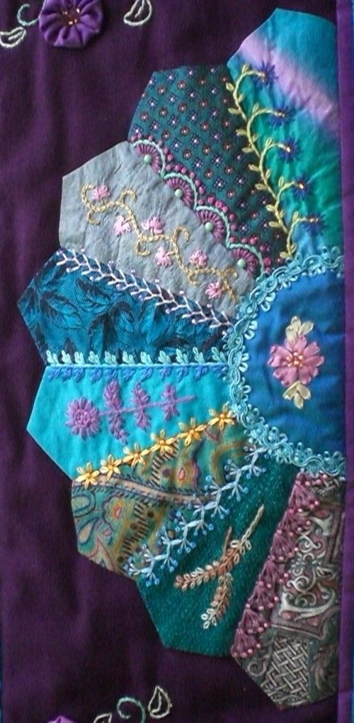 Fan 3 - Crazy patchwork wall quilt. 26 x 32 inches ~By marcie carr