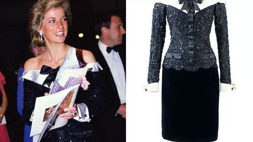 David Sassoon, 1989. Это коктейльное платье, в котором принцесса появилась на концерте в лондонском Барбикане в 1989 году, многие сочли необычным выбором для принцессы, поскольку за его основу дизайнер Дэвид Сассун взял мужской смокинг.