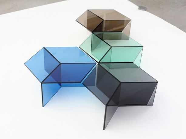 sebastian scherer isom table sebastian scherers glass tables resemble cubistic objects and invite us to play with optical illusions