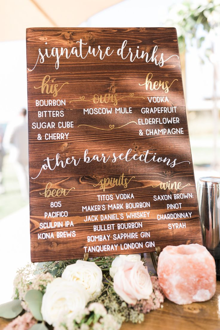 Wedding Signature Drinks Sign made by @kylzgrl