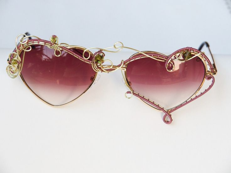 Heart sunglasses/Boho sun glasses/Hippie accessories/Wire wrapped bohemian/Festival sunglasses/Spring/Eyewear/Wearable art/Red/Fashion by Ianira on Etsy