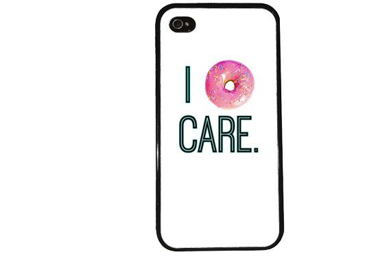I DoNut Care iPhone Case /  Funny iPhone 4 Case Sprinkles iPhone 5 Case iPhone 4S Case iPhone 5S Case Funny Dessert Food Quote Phone Case