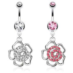 Hollow Flower with Swirly Gem Paved Center Dangle Navel Ring