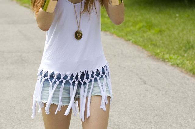 DIY: Fringe Net Tank diy dress clothing alternations fashion tshirt reuse nosew