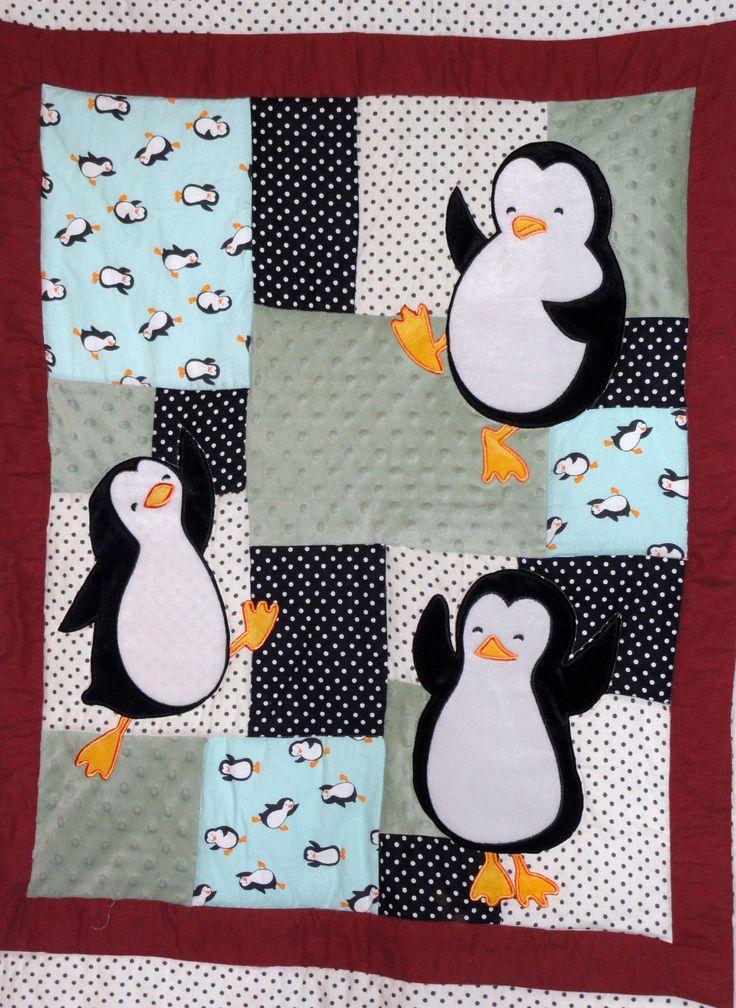 Quilt infantil con pinguinos