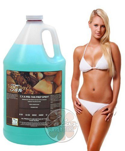 "Gal Airbrush SPRAY TANNING Pre TAN PREP Sunless SPRAY FULL Gallon Solution by Tampa Bay Tan. $45.95. Organic Aloe Vera Gel. Premier Quality. Vegetable Derived Glycerin. Citric Acid. Non Drying & Non Irritating. Our Airbrush Tanning Solution Preparation Spray is a refreshing product that will help prime the skin surface to receive the spray tanning solution.In a clients eyes, a bad spray tan is always ""your"" fault. Even when the client has residue that can effect tan devel..."