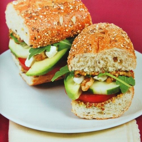 Drop the cold cuts and try this veggie baguette with fresh veggies, feta cheese, and walnuts piled high on a baguette for a tasty vegetarian sandwich.