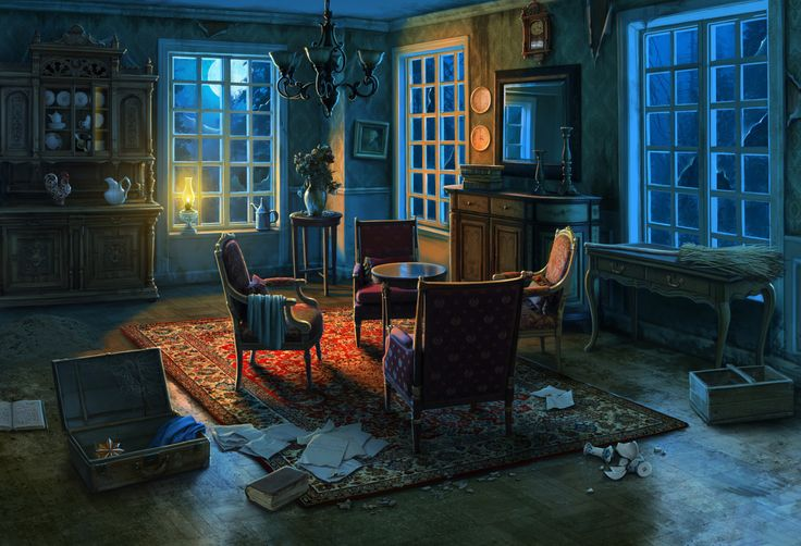 "Manor living room background and miniscenes for ""Curse at Twilight: Shadowbrook"" game, Olga Antonenko on ArtStation at https://www.artstation.com/artwork/XGzxn"