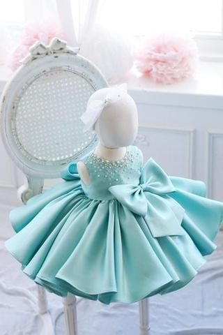 Girly Shop's Turquoise Round Neckline Sleeveless Knee Length Pearl & Crystal Applique Little Girl Ruffle Dress With Big Bow Front