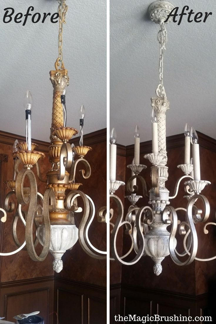 Tired of your bronze chandeliers?  Tutorial for faux painting light fixtures from gold/bronze to cream/gray at http://themagicbrushinc.com/tired-bronze-light-fixtures-yet/