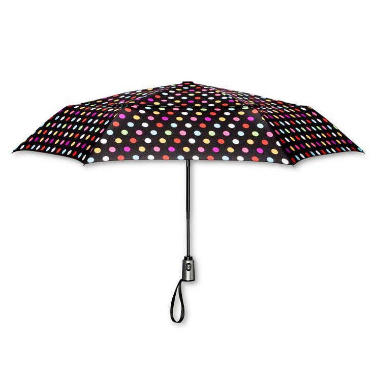 ShedRain Compact Auto Open/Close Air Vent Umbrellas - Black Polka Dot,