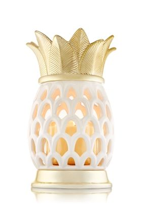 Pineapple Luminary - 3-Wick Candle Holder - Bath & Body Works - This gorgeous pineapple with gold tone accents makes the perfect tropical statement for any space. Pair this ceramic luminary with your favorite 3-Wick and light up your d�cor!