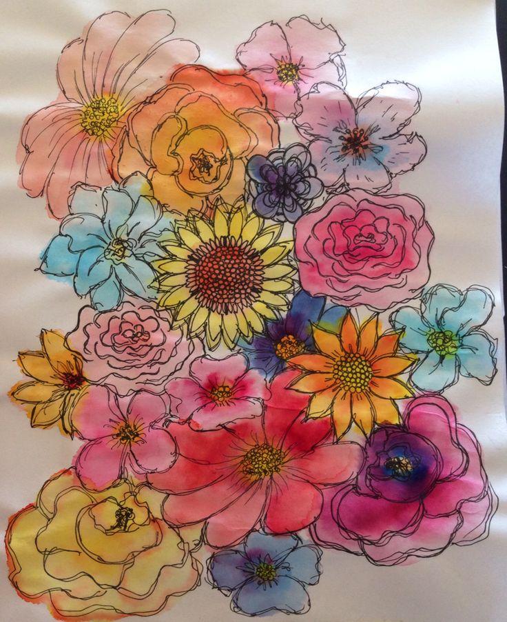 Flores, acuarela + tiralíneas