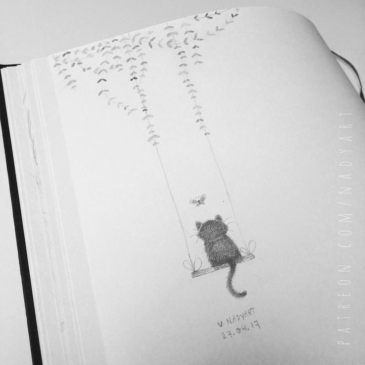 Kitten on swing, whimsical pencil art, sketchbook, cat sketches, cat illustration, cat sketch challenge, how to draw a cat, cat drawing