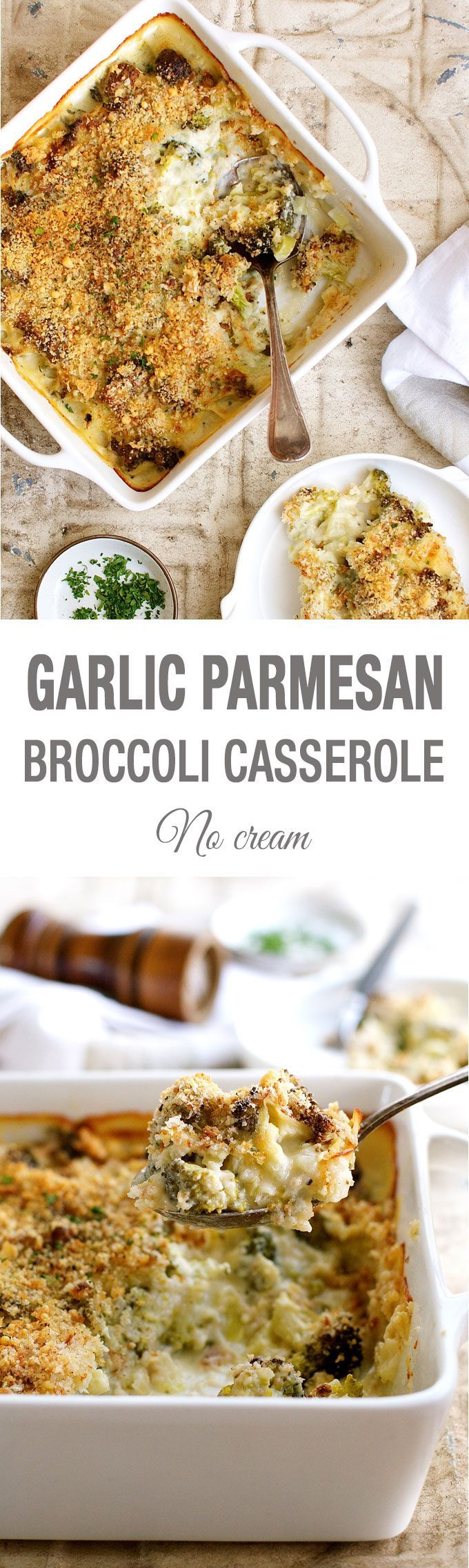 Creamy Broccoli Casserole (Gratin / Bake) - made from scratch without a drop of cream!