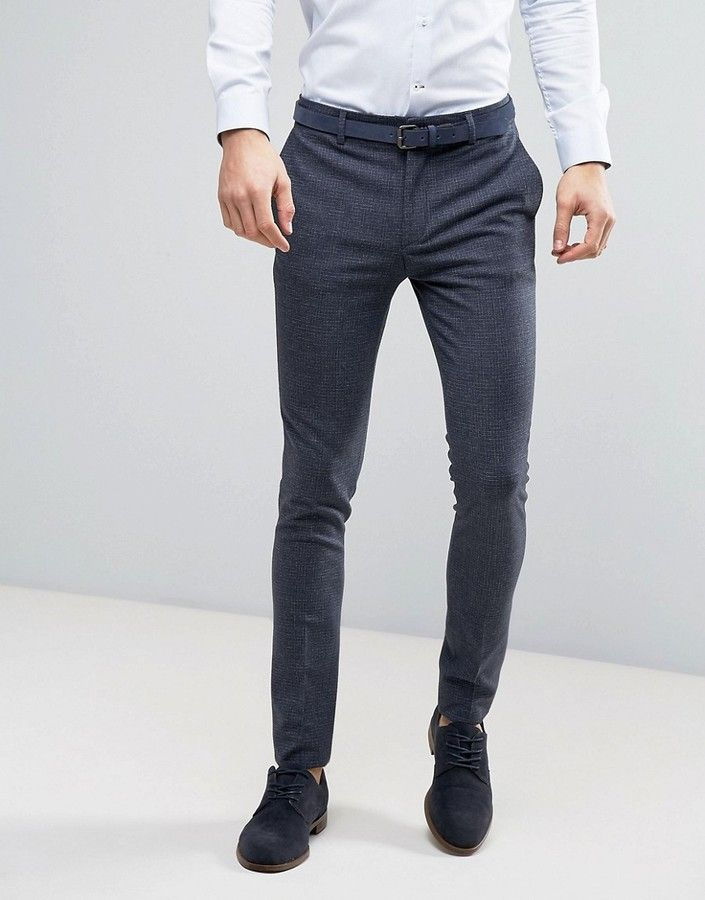 ASOS WEDDING Super Skinny Suit Pants in Mini Check In Blue  24cc57df0cc6e
