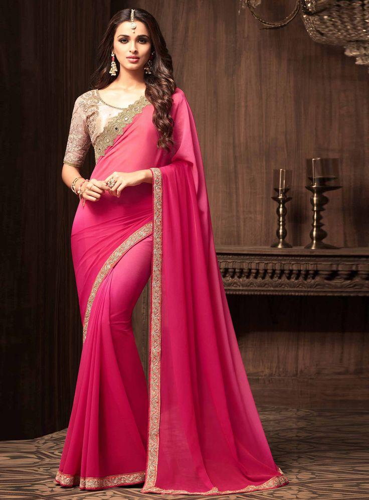 Pink Saree: Pink Georgette Mirror Work Saree 101058