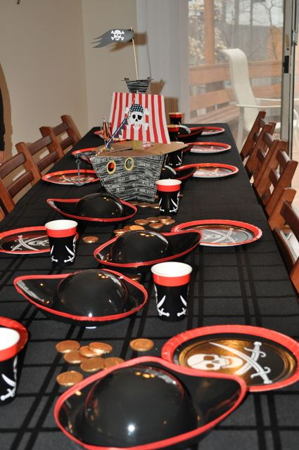I thought this would be a different/cute birthday party idea. The hats/ plates, and gold coins could be found at a part store for fairly cheap, about $20 for all. I would use this for a little boys birthday party, maybe with a treasure hunt theme! :)