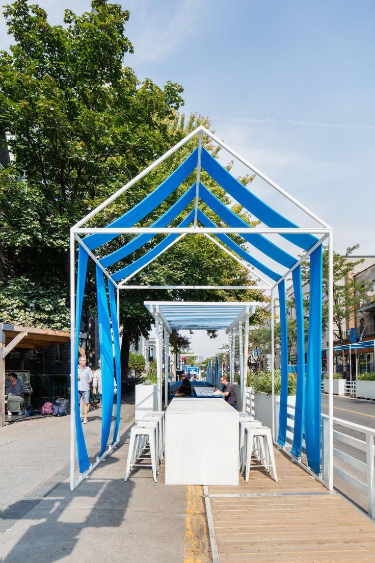 Public space / Boardwalk / Urban design / Blue / White / Maritime / Summer / Montreal / Square / Identity / Graphism / Cabin / Social space