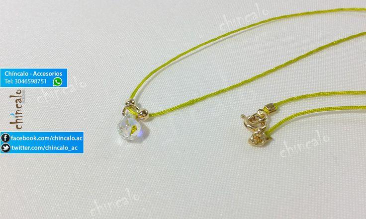 Collar Referencia: coll8 Valor: $6.000 Para: Mujer o Niña Material: Cordón, oro Goldfield y lágrima tornasol Cuidados: No mojar y evitar el contacto con perfumes