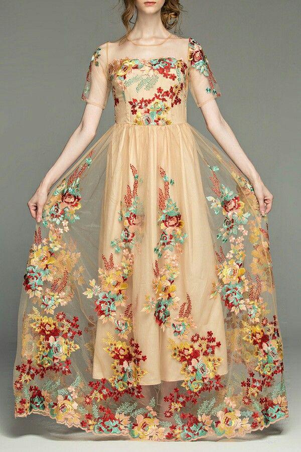 Vintage short sleeve embroidered prom dress