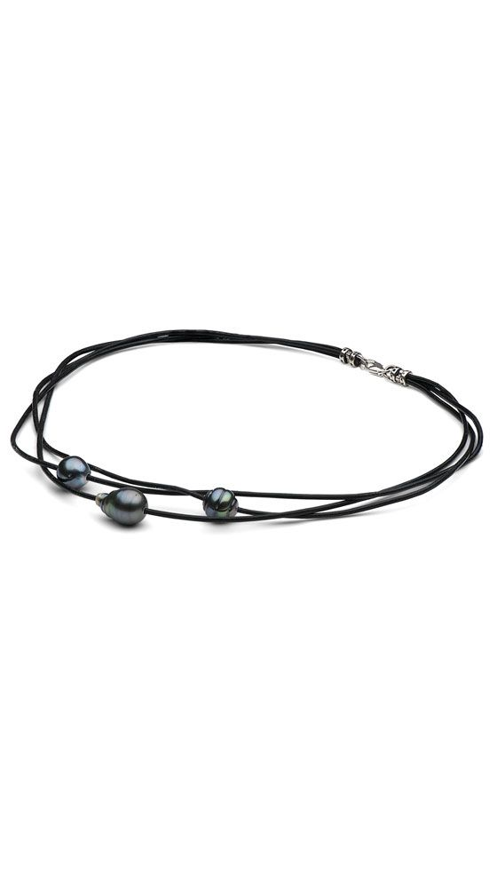 Braided Triple Strand Tahitian Baroque Pearl Choker by Pure Pearls