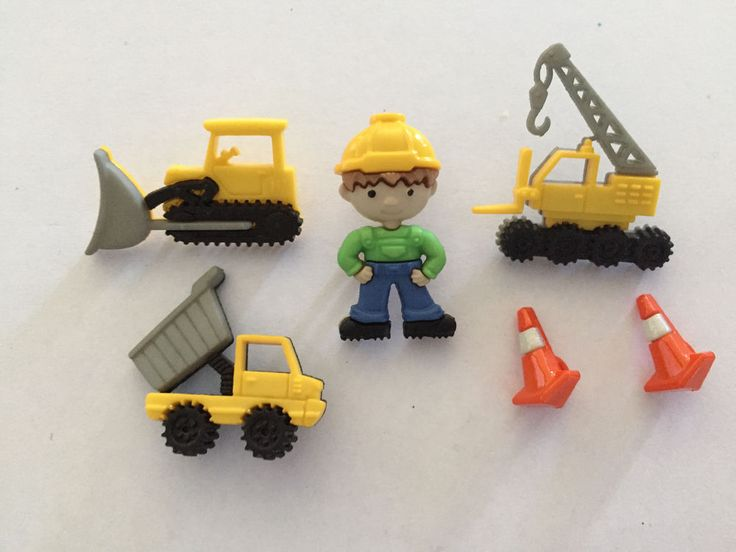 Novelty Dress It Up Buttons - Construction equipment loader crane tip truck 8305