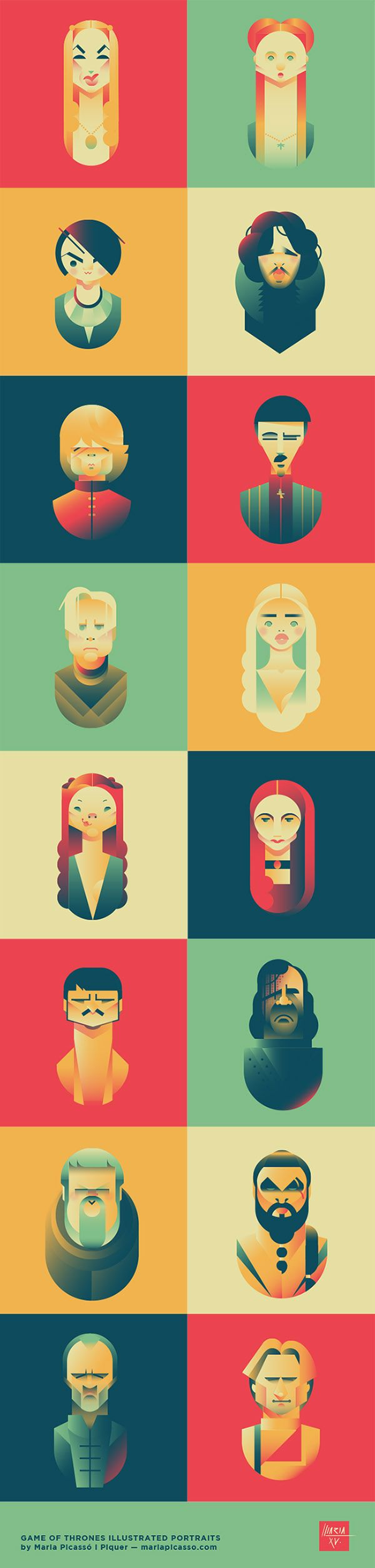 Game of Thrones vector illustrated caricature portraits by Maria Picassó i Piquer.