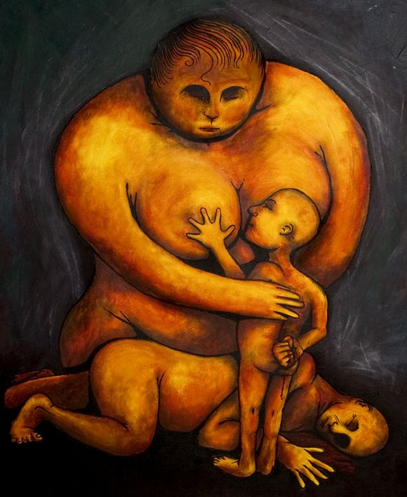 """In this picture, there are mother father  and son. This picture make me think about """"What is Oedipus complex."""""""