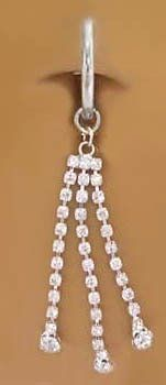 Fake Belly Navel Non Clip on Piercing Clear Cz 3 Long Strand Dangle Ring playful piercings. $10.00