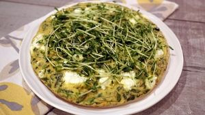 Herbed Asparagus Frittata with Pea Shoot Salad Recipe | The Chew - ABC.com
