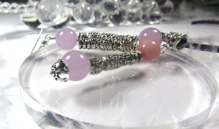 ENSEMBLE collier-pendentif et boucles d'oreille en pierres semi-précieuses de jade lilas et jade rose + cordon en suédine offert : Parure par lapassiondisabelle